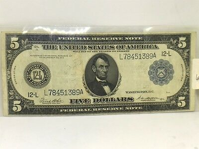 1914 $5 Federal Reserve Large Note with San Fransisco and Blue Seal Ungraded