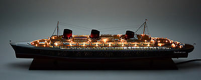 "SS Normandie Ocean Liner Ship Model 48"" with lights - Handcrafted Ship Model"