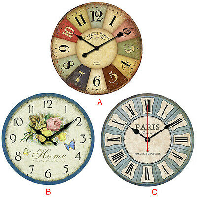 Vintage France Paris Colourful French Country Tuscan Style Paris Wood Wall Clock