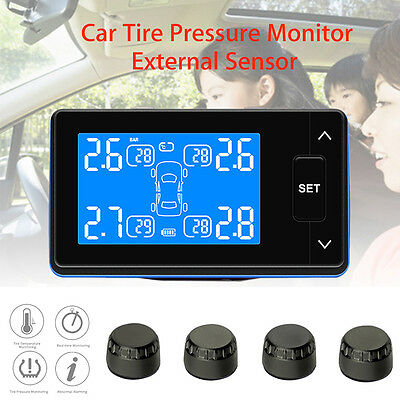 TPMS Wireless Tire Pressure Monitoring LCD Display W/ 4 External Sensors For Car