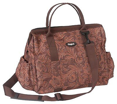 Tough 1 Show Case Groom Bag in Prints, Tooled Leather Brown