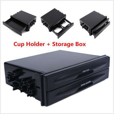Durable Car truck Double Din Radio Pocket Drink-Cup Holder Storage Box Universal