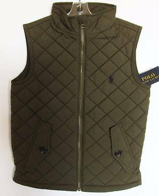 Ralph Lauren Boys Rugby Olive Quilted Vest (4/4T) NWT