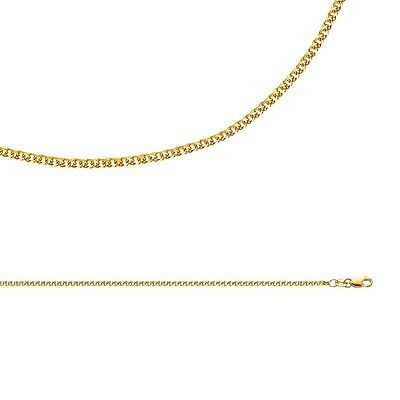 Wheat Necklace Solid 14k Yellow Gold Chain Flat Open Link Cable , 1.7 mm