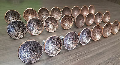 Set of (6) Vintage Mid Century Concave Round Hammered Copper Pull Knobs Vintage