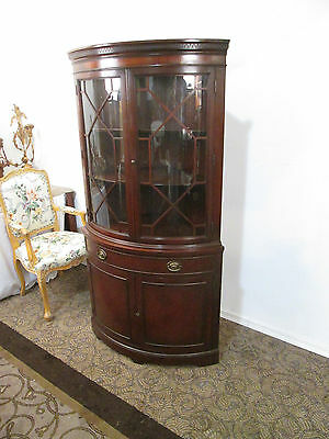 57207 Antique Mahogany Bow Glass Corner China cabinet Curio