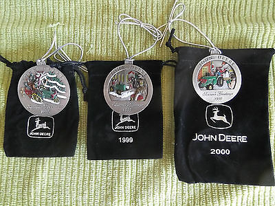 NEW 1998-1999-2000 John Deere Pewter Christmas Ornaments  Hard To Find #3 #4 #5