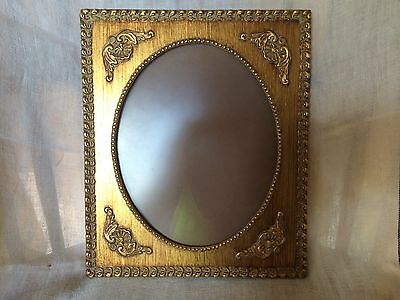 Vtg Gold Gilt Wood and Gusso Picture Photo Frame Oval 8x10 With Museum Glass