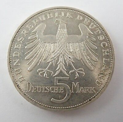Germany 1955F Silver 5 Mark Coin - 150Th Anniv Death Of Friedrich Von Schiller