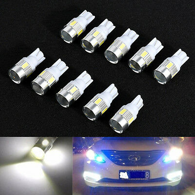 10pcs 12V  T10 W5W 5630 6-SMD LED Car Side Light Bulb Wedge Lamp 168 194 192 158