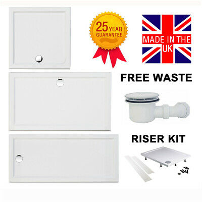 Square Rectangle Shower Tray Riser Kit Flat Top 45mm High White Free Waste