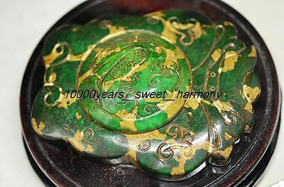 One And Only Superb Chinese Old Green Jade Carved Butterfly Shape Ink Stone