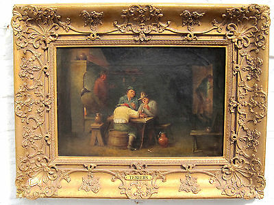 Follower of David Teniers ANTIQUE OLD MASTER OIL PAINTING ON CANVAS