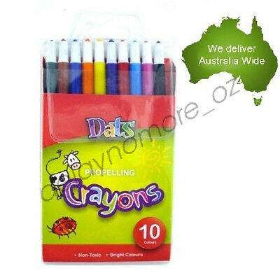 10 Propelling Crayons Assorted Colours Twist Crayon Non Toxic Kids Painting Red