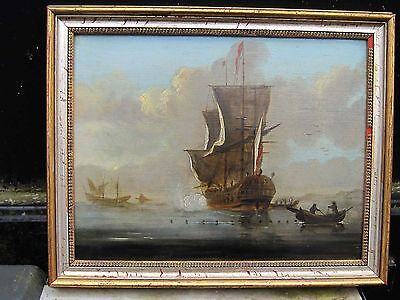 Attributed Willem van de Velde 1600's ANTIQUE OLD MASTER OIL PAINTING Canvas