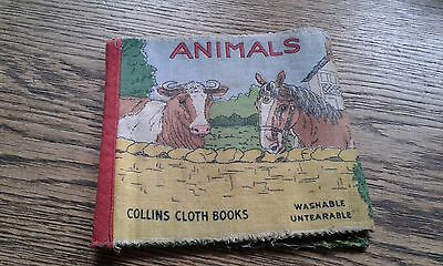 Vintage Cloth Rag Children's Baby Book Collins Animals