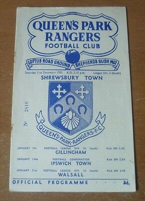 QPR v Shrewsbury Town, 1955/56 - Division Three (South) Programme