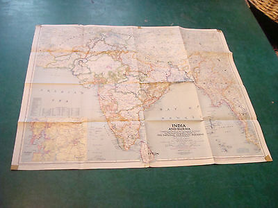 "Original NATIONAL GEOGRAPHIC MAP: 1946 INDIA & BURMA 25 x 30"" some tape corners"