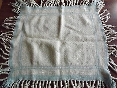 "Old Vintage Wool Baby Blanket, Fringe Trim, White & Blue 22"" x 26"", 75 years old"