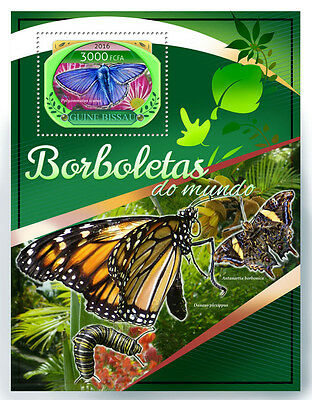 Guinea-Bissau 2016 MNH Butterflies 1v S/S Insects Monarch Butterfly Stamps