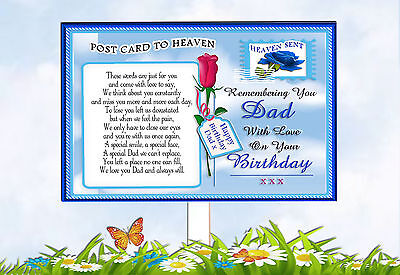 Dad Birthday Rememberance Postcard To Heaven Memorial Graveside Card & Holder