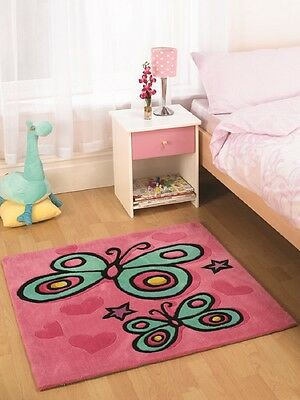 Kiddy Play Butterfly Pink Rug 90cm X 90cm