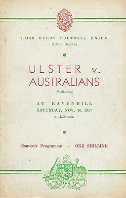 1957 - Ulster v Australia, Autographed Touring Match Programme.