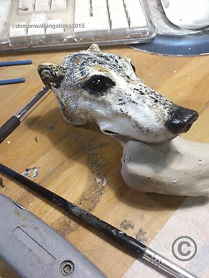 'Greyhound No.2' Walking Stick Handle - Arts & Crafts