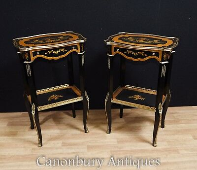 Black Lacquer French Empire Side Tables Cocktail Table