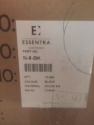 (Box of 10,000) N-8-BK Essentra Clamp, Cable; 1/2 in.; Black (NEW)