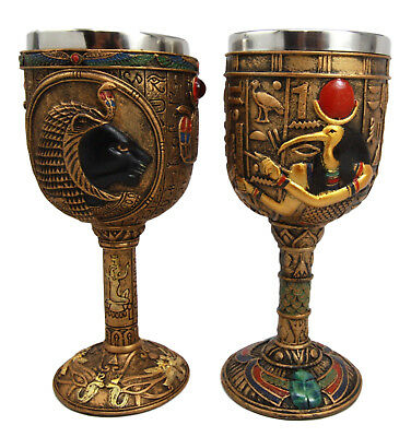 "6.75""H Ancient Egyptian Myth Thoth & Sekhmet 6oz Wine Goblet Chalice Cup Set"