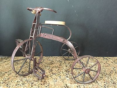 Vintage/antique Small Metal Tricycle Garden Art Decor W/functional Parts