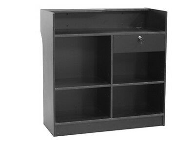 Black Ledgetop Counter Register Stand Top Shelf Display Store Fixture #LTCSW4BK