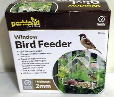 Bird Watch Feeder Glass Window Suction Acrylic Transparent Feed Tray Seeds