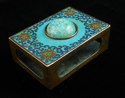 Antique Blue Red Chinese CLOISSONE FLORAL Scroll Faux Turquoise MATCH BOX HOLDER
