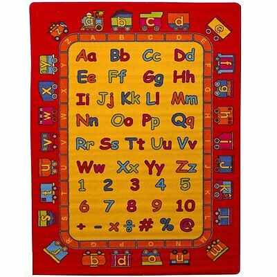ABC Fun Kids Area Rug 5' x 7' Children Red Letters Carpet Non Skid Gel Backing