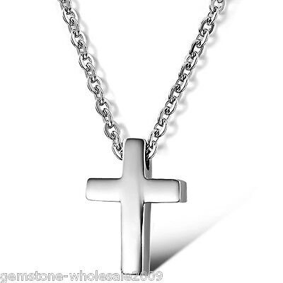 1PC Fashion Womens's Stainless Steel Jewelry Cross Pendant Necklace 9x13mm GW