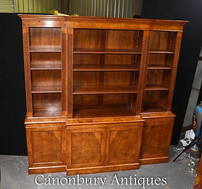Walnut Open Breakfront Bookcase Regency Bookcases