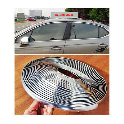 12mm / 39ft Auto Car Bright Silver Chrome Moulding Trim Bumper Strip Adhesive