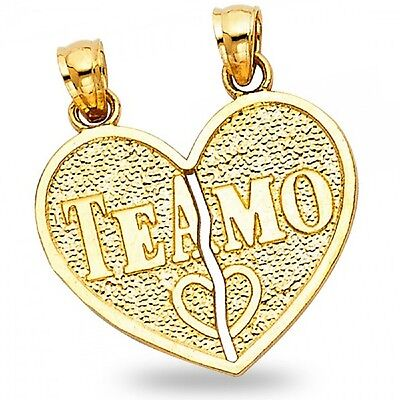 14k Yellow Gold Te Amo Heart Pendant Broken Heart Charm Two Piece Breakable
