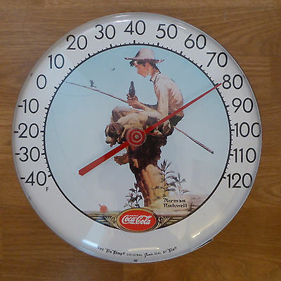 """Vintage 12"""" Coca Cola Norman Rockwell Tru Temp Thermometer, Mint Condition"""