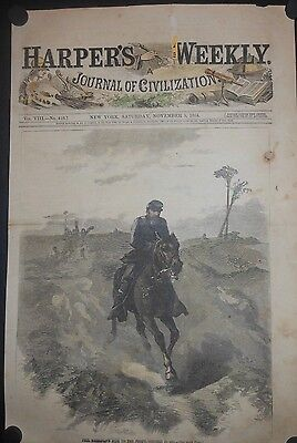 Civil War 1864 Phil Sheridan Ride To The Front On Horseback Hand Color