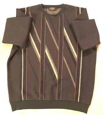 Sweater Serica Men's XL Italy Crewneck Stripes Zigzags Earthtones Merino Acrylic