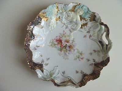 """R S Prussia Two Hidden Image Figure Large 12"""" Handled Bowl Lots Of Gold Unmarked"""