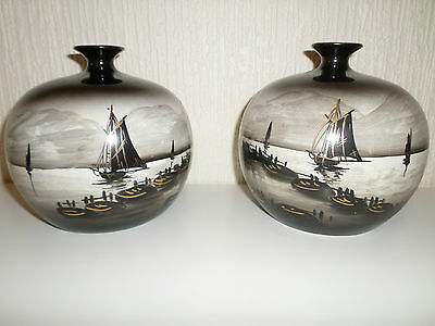 Pair of Round Antique Chinese / Japanese Vases Black White Gold Junks Sampans