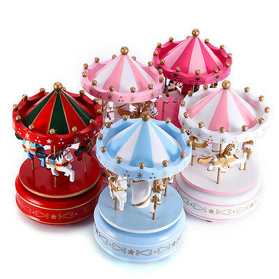 Colorful Horse Carousel Music Box Toy Led Light Clockwork Musical Toys Xmas Gift