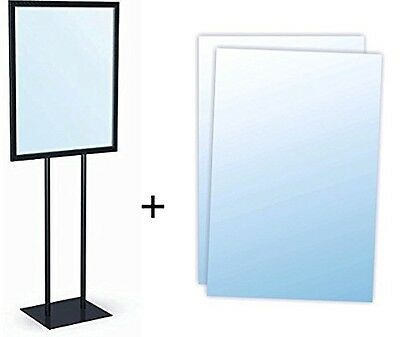 """Black Bulletin 22""""W x 28""""H Sign Holder with Clear Lens Overlays"""