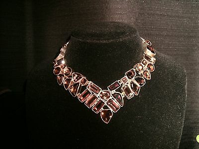 necklace smoky quartz Silver Cleopatra cluster bib adjustable