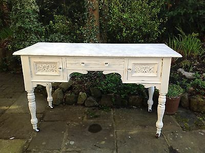Painted Victorian washstand , distressed style with faux marble paint effect top