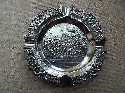 """Rare Vintage Silver Plate Repousse Ashtray Military / Rembrandts """"Night Watch"""""""